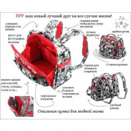 Сумка рюкзак для мамы Ju-Ju-Be B.F.F. jujuberry squares