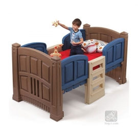 Детская кроватка с лестницей синяя