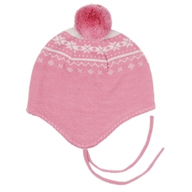 Шапочка на завязках розовая (размер 1-3 года)