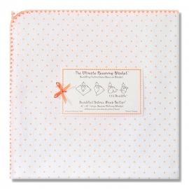 Фланелевая пеленка для новорожденного SwaddleDesigns Orange Polka Dot
