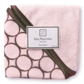 Детские мочалки SwaddleDesigns Washcloth set Pink w/BR Mod C