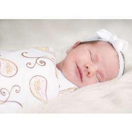 Фланелевая пеленка для новорожденного SwaddleDesigns Pink Paisley