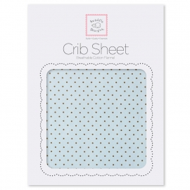 Детская простынь Fitted Crib Sheet Blue w/BR Dots