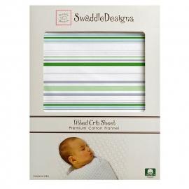 Простынь детская SwaddleDesigns Fitted Crib Sheet Pure Green Stripe