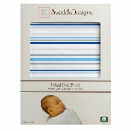 Простынь детская SwaddleDesigns Fitted Crib Sheet True Blue Stripe