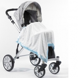 Плед детский SwaddleDesigns Stroller Blanket Ivory Puff w/Blue