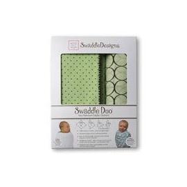 Наборы пеленок SwaddleDesigns Swaddle Duo Brown Polka Dots on Pastel URB + Brown Mod Circles MSB