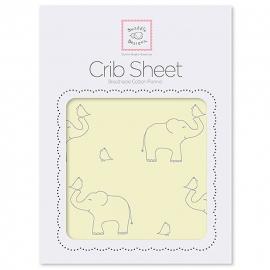 Простынь детская SwaddleDesigns Fitted Crib Sheet Y Sterling Deco Elephants