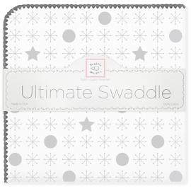 Пеленка фланель для новорожденного SwaddleDesigns Ultimate Jax & Stars Sterling