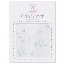 Детская простынь Fitted Crib Sheet Blue Chickies