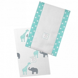 Полотенчики SwaddleDesigns Baby Burpie Set SC Elephant & Giraffe