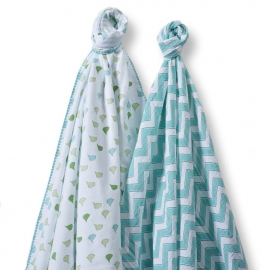 Набор пеленок SwaddleDesigns Swaddle Duo TQ Chickies/Chevron