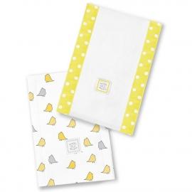 Полотенчики SwaddleDesigns Baby Burpie Set Yellow/Grey Chickies