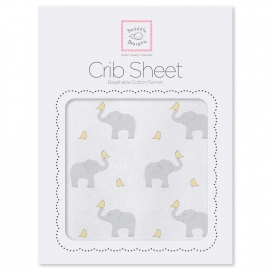 Простынь детская SwaddleDesigns Fitted Crib Sheet PY Elephant & Chickie