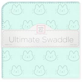 Пеленка фланель для новорожденного SwaddleDesigns Ultimate Bonjour Bunnie SeaCrystal