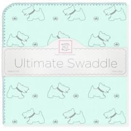 Пеленка фланель для новорожденного SwaddleDesigns Ultimate Gray Doggie SeaCrystal