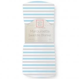 Пеленка детская тонкая SwaddleDesigns Маркизет Simple Stripes Pstl Blue