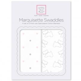 Наборы пеленок Marquisette 2-Pack Pstl Pink Little Doggie & Dottie Heart
