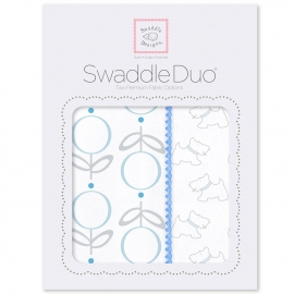 Набор пеленок SwaddleDesigns Swaddle Duo Blue Little Doggie