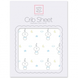 Простынь детская SwaddleDesigns Fitted Crib Sheet Pstl Blue Space Friend