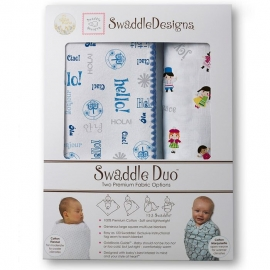 Набор пеленок SwaddleDesigns Swaddle Duo Blue Hello SM