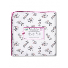 Фланелевая пеленка для новорожденного SwaddleDesigns Pink/Gray Minnie