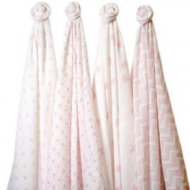 Набор муслиновых пеленок 4 шт. SwaddleDesigns Pink Butterfly