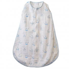 Спальный мешок SwaddleDesigns Muslin zzZipMe Sack Blue Little Ships