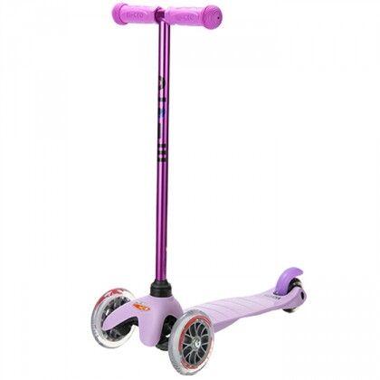 Самокат Mini Micro Candy сиреневый с прозрачными колесами для детей от 1,5 до 5 лет