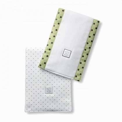 Полотенчики SwaddleDesign Baby Burpie Set Lime w/BR Dot