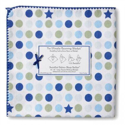 Фланелевая пеленка для новорожденного SwaddleDesigns Navy Dot/Star
