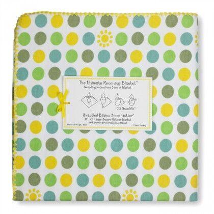 Фланелевая пеленка для новорожденного SwaddleDesigns Yellow Dot/Sun