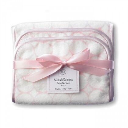Полотенчики SwaddleDesign Baby Burpie Set - Organic Pink Mod on Ivory