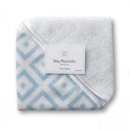 Детские мочалки SwaddleDesigns Washcloth set Blue w/BR Mod S