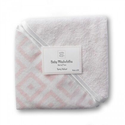 Детские мочалки SwaddleDesigns Washcloth set Pink w/BR Mod S