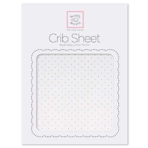 Простынь детская SwaddleDesigns Fitted Crib Sheet Pstl. Blue Dot