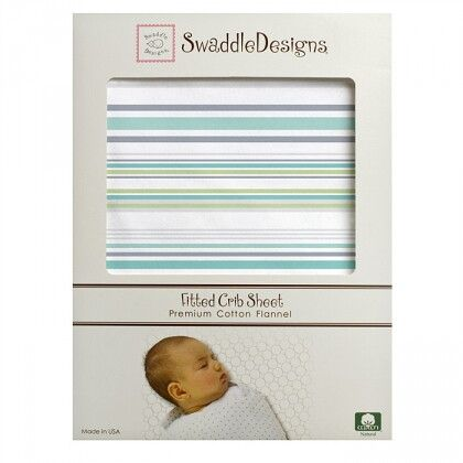 Простынь детская SwaddleDesigns Fitted Crib Sheet Turquoise Stripe
