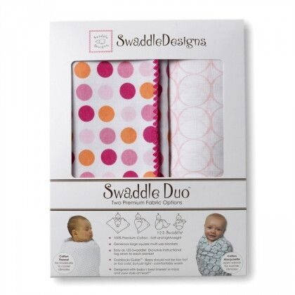 Набор пеленок SwaddleDesigns Swaddle Duo Fuchsia Dots Duo