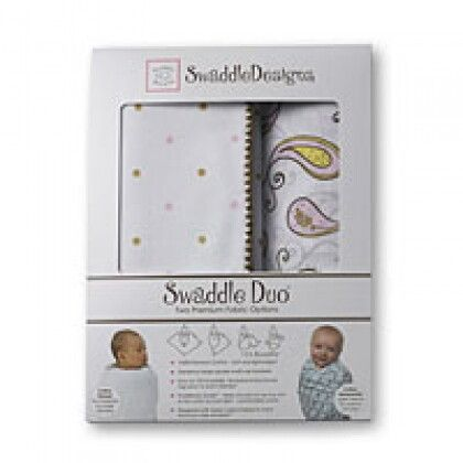 Наборы пеленок SwaddleDesigns Swaddle Duo Dots & Hearts, Stars URB + Mod Circles on White MSB