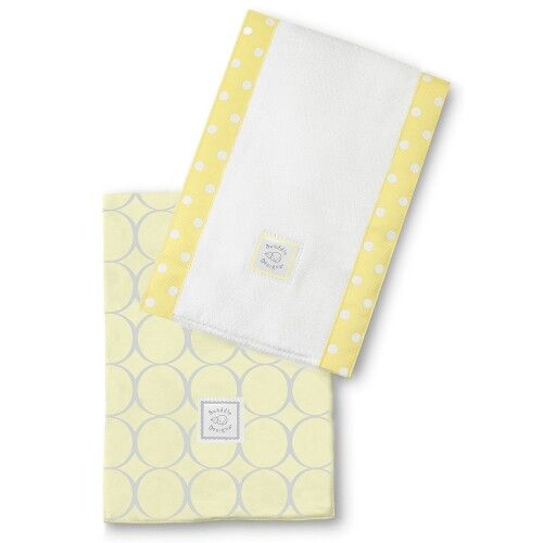 Полотенчики SwaddleDesigns Baby Burpie Set Yellow Sterling Mod Circles on Sunwashed Pastels