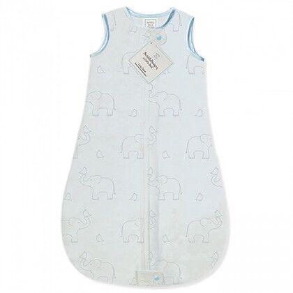 Детский спальный мешок SwaddleDesigns zzZipMe Sack (3-6) Blue/Sterling Deco Elephant