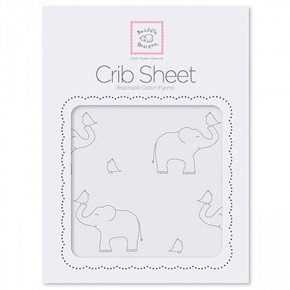Простынь детская SwaddleDesigns Fitted Crib Sheet SB Sterling Deco Elephants