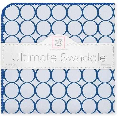 Фланелевая пеленка для новорожденного SwaddleDesigns Кружки - голубой