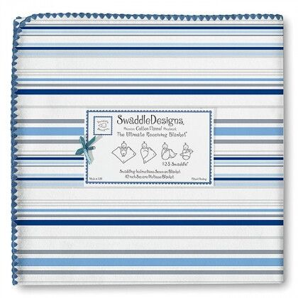 Пеленка фланель для новорожденного SwaddleDesigns Ultimate True Blue Stripe