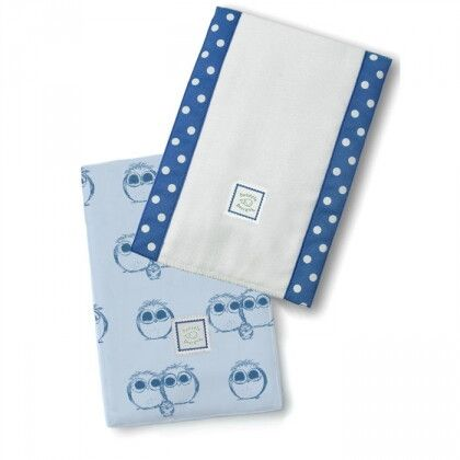 Полотенчики SwaddleDesign Baby Burpie Set True Blue Owls