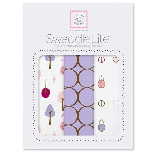 Набор пеленок SwaddleDesigns SwaddleLite Cute & Calm Lavender