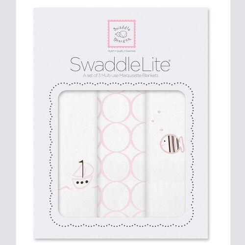 Набор пеленок SwaddleDesigns SwaddleLite Boats & Fish Pink