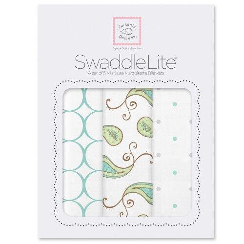 Набор пеленок SwaddleDesigns SwaddleLite Paisley SeaCrystal
