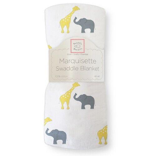 Пеленка детская тонкая SwaddleDesigns Маркизет Y Giraffe/Elephant
