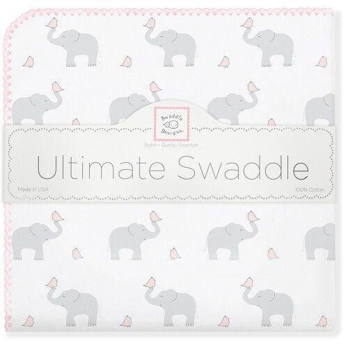 Фланелевая пеленка для новорожденного SwaddleDesigns PP Elephants/Chicks